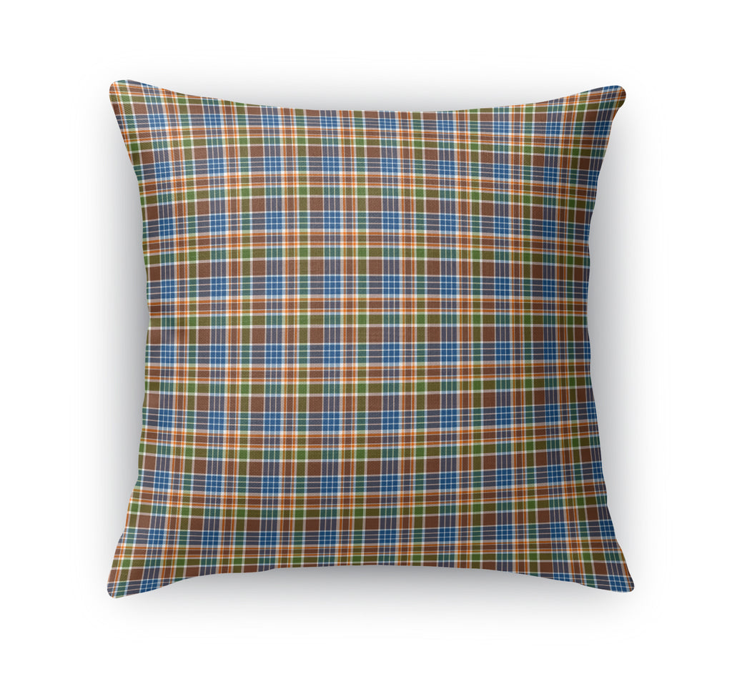 BLUE AND BROWN PLAID  Accent Pillow By Northern Whimsy