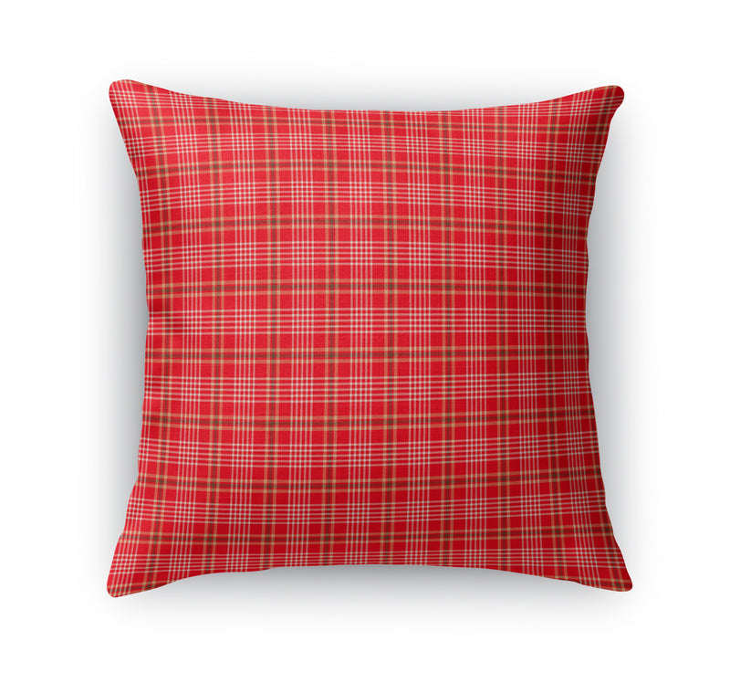 RED AND TAUPE SKINNY PLAID  Accent Pillow By Northern Whimsy