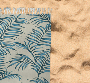 BLUE TROPICAL LEAVES Beach Blanket with Tassels By Kavka Designs