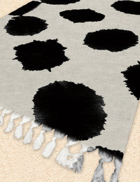 BAQUARELLE LARGE SPOTS Beach Blanket with Tassels By Nancy Green