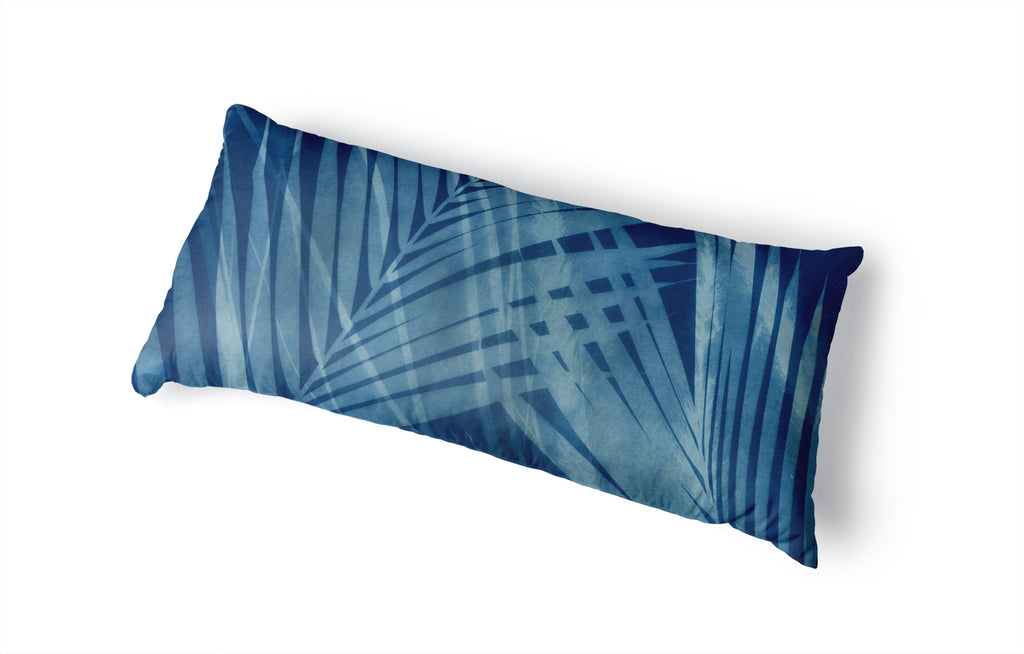 CYANOTYPE TROPICAL Body Pillow By Nancy Green