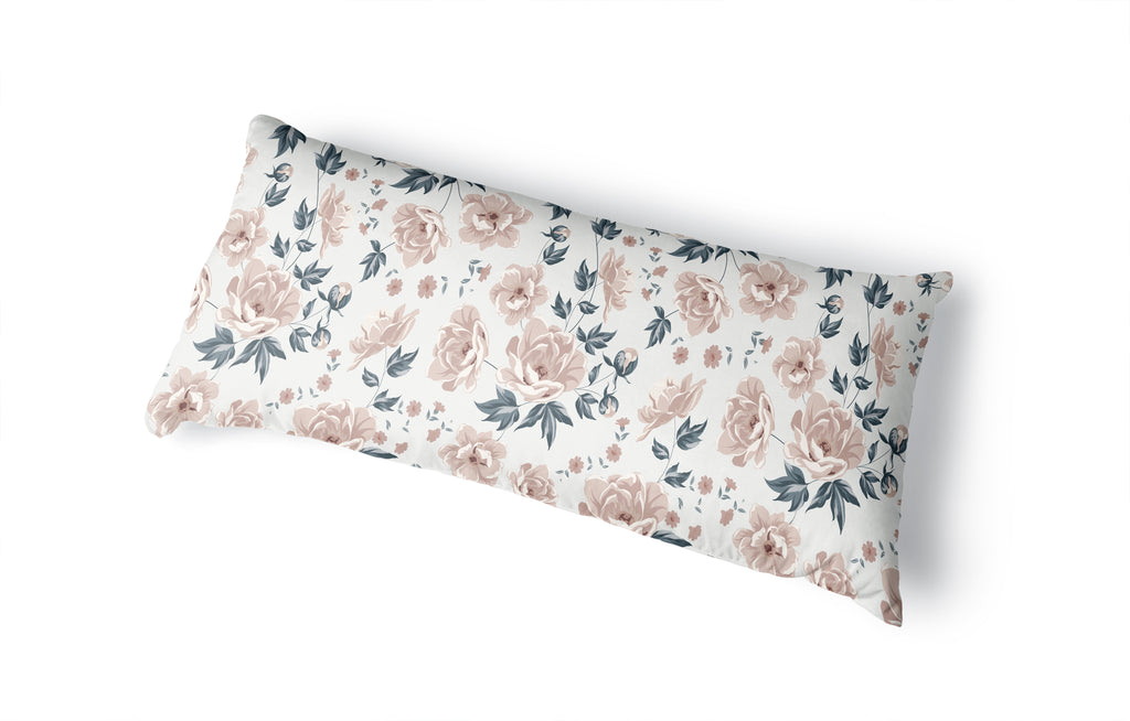 COLETTE PINK FLOWER ON WHITE Body Pillow By Terri Ellis