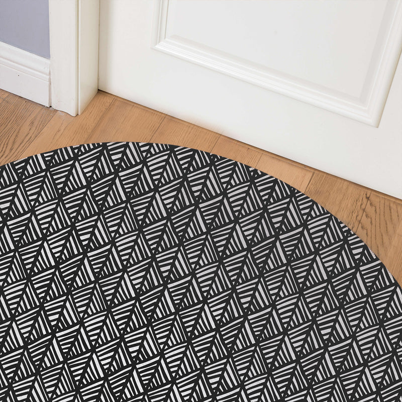 ABSTRACT LEAF BLACK Indoor Floor Mat By Becky Bailey