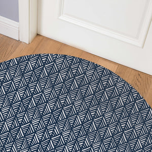 ABSTRACT LEAF NAVY Indoor Floor Mat By Becky Bailey