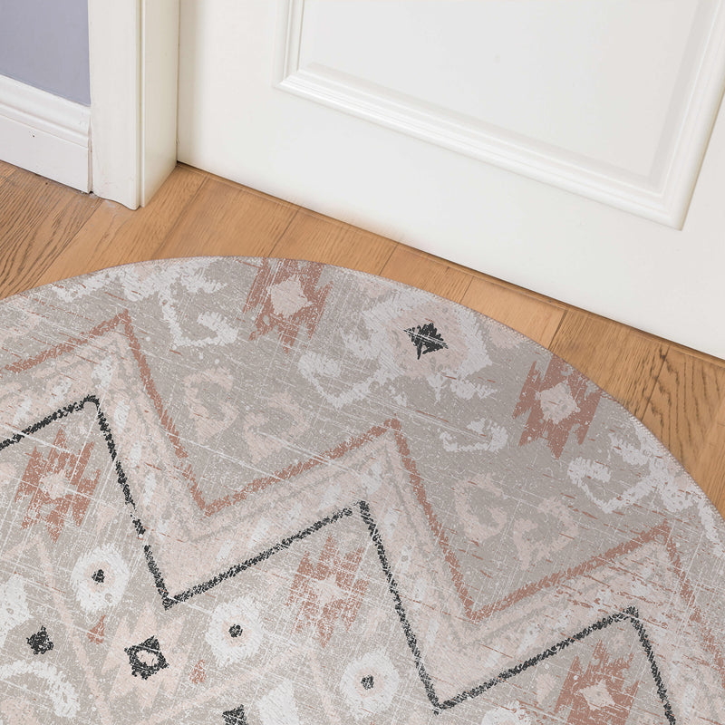 JESSA TAUPE DISTRESSED Indoor Floor Mat By Terri Ellis