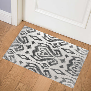 ANNABELLE BLACK AND WHITE DISTRESSED Indoor Floor Mat By Terri Ellis