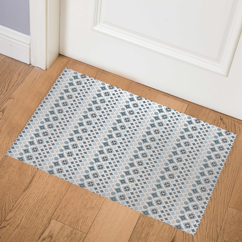 FOLKLORE BLUE Indoor Floor Mat By Tiffany Wong