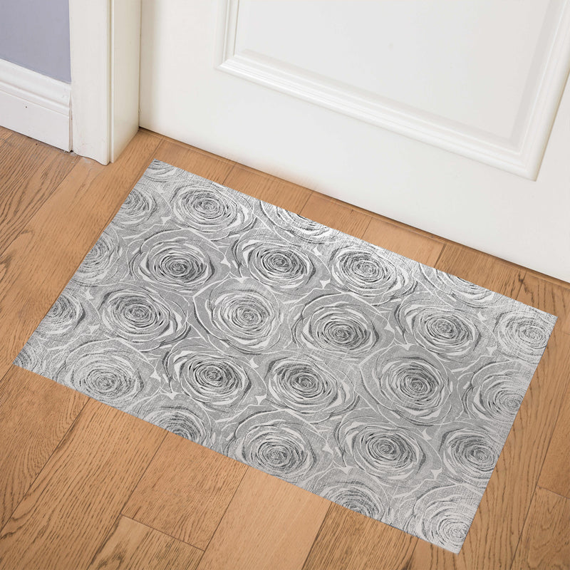BED OF ROSES GREY FLAT DESTRESSED Indoor Floor Mat By Terri Ellis