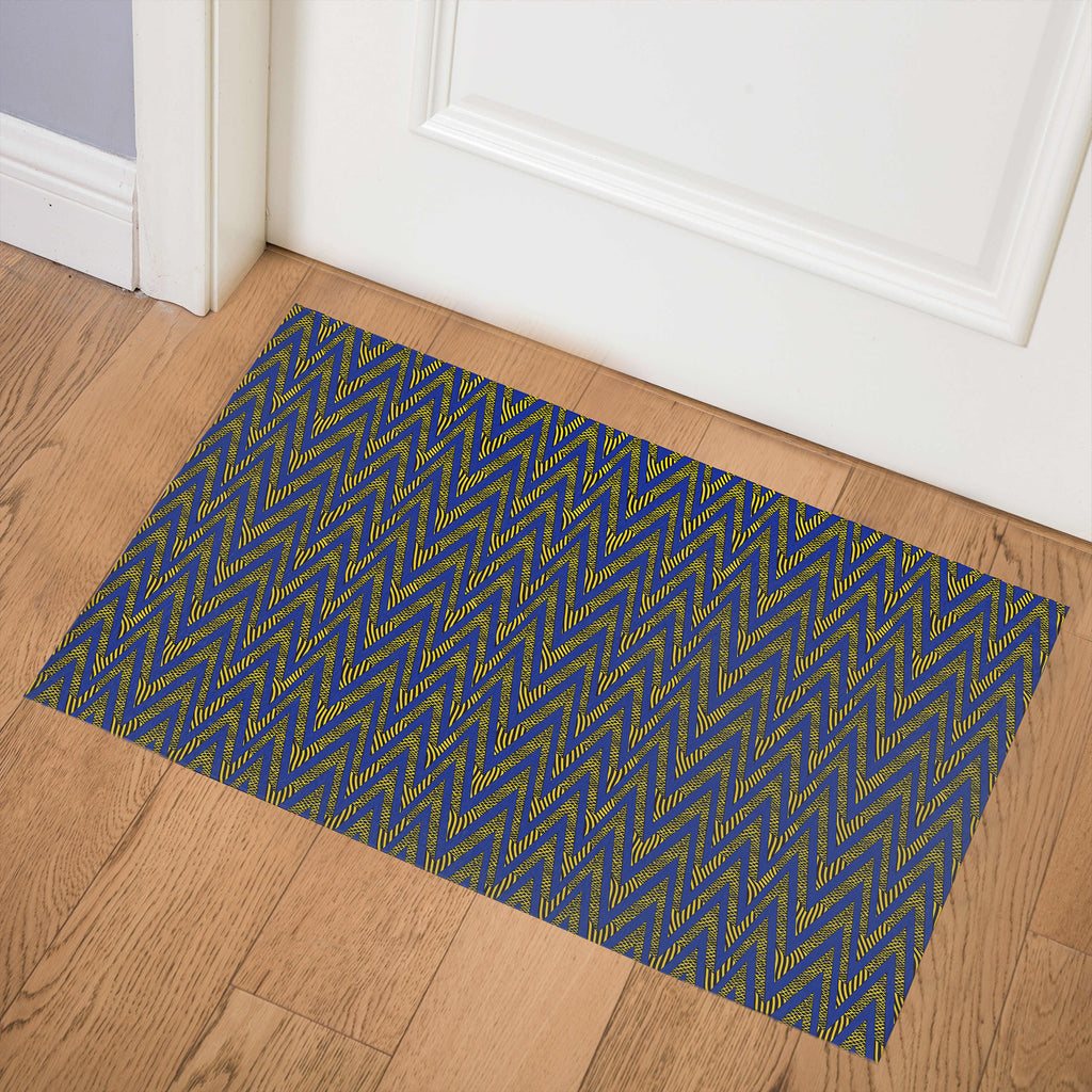 ACRO BLUE AND YELLOW Indoor Floor Mat By Becky Bailey