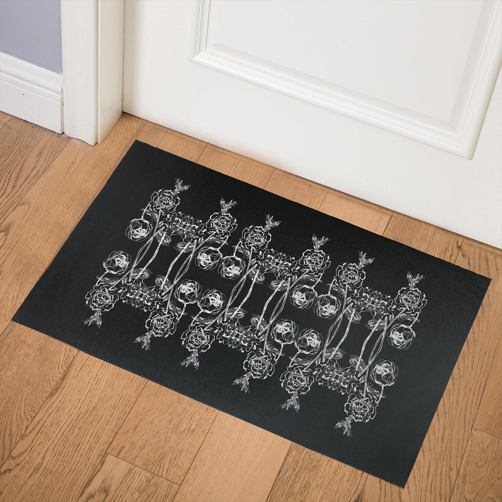 VINTAGE WOODBLOCK ROSE BLACK Indoor Floor Mat By Hope Bainbridge