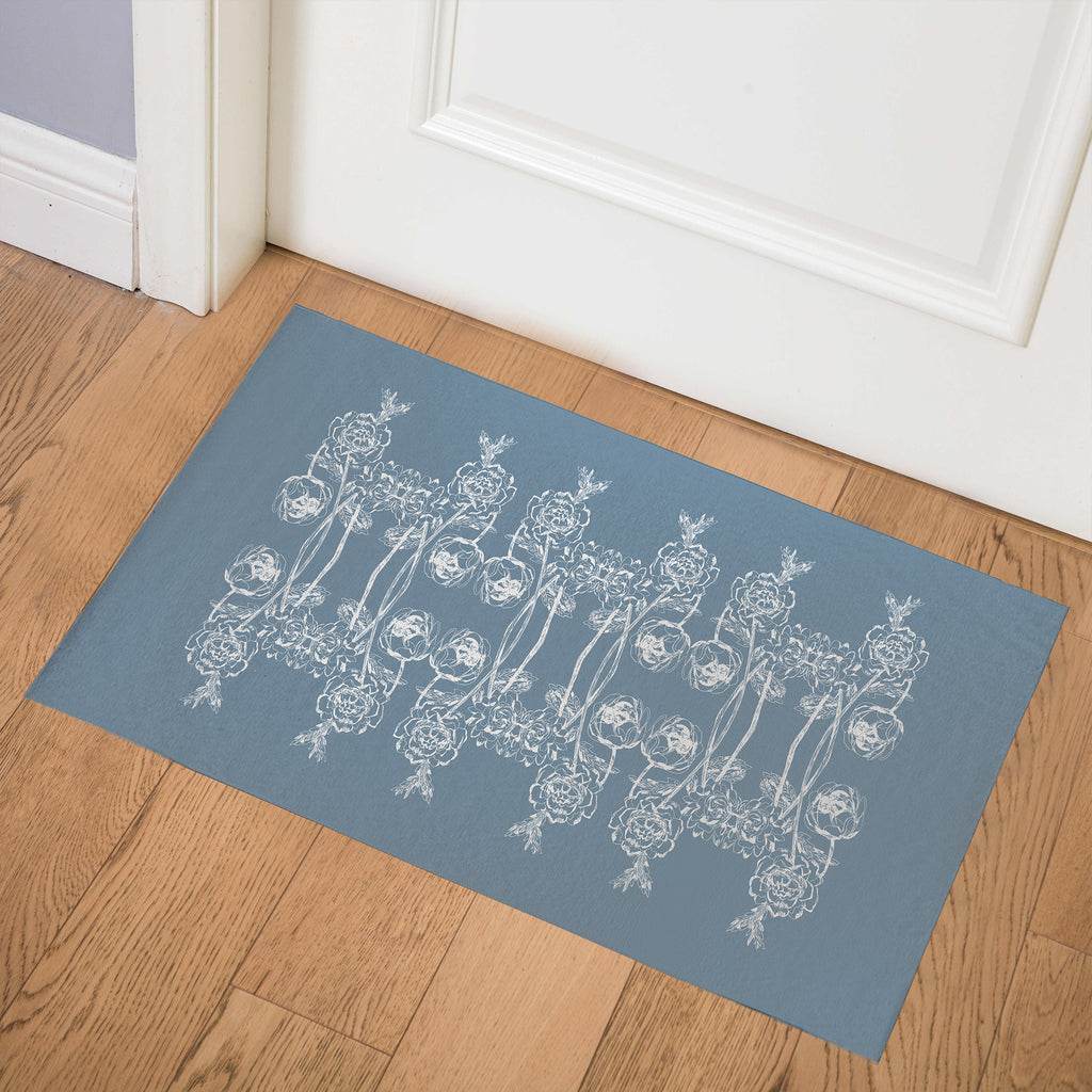 VINTAGE WOODBLOCK ROSE BLUE Indoor Floor Mat By Hope Bainbridge