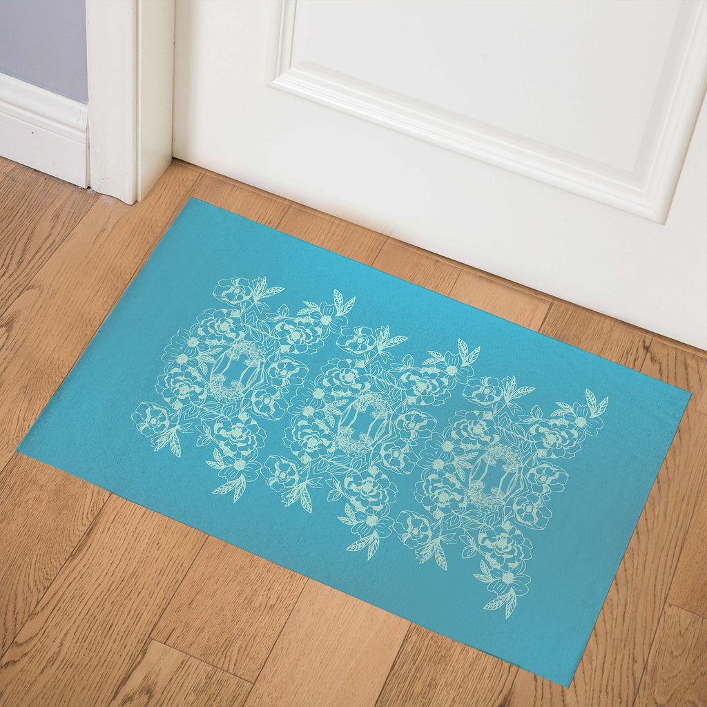 WOODBLOCK FLORAL AQUA Indoor Floor Mat By Hope Bainbridge
