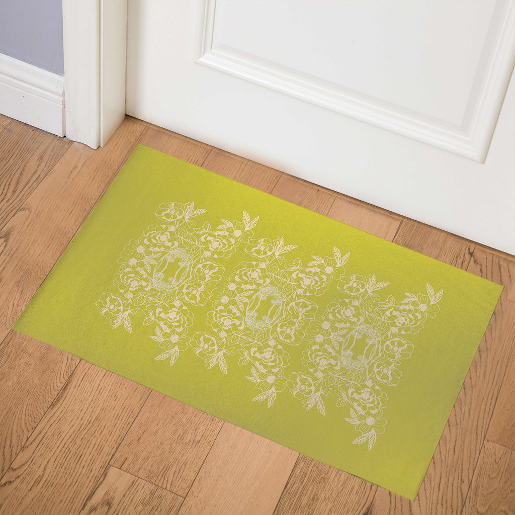 WOODBLOCK FLORAL CHARTREUSE Indoor Floor Mat By Hope Bainbridge