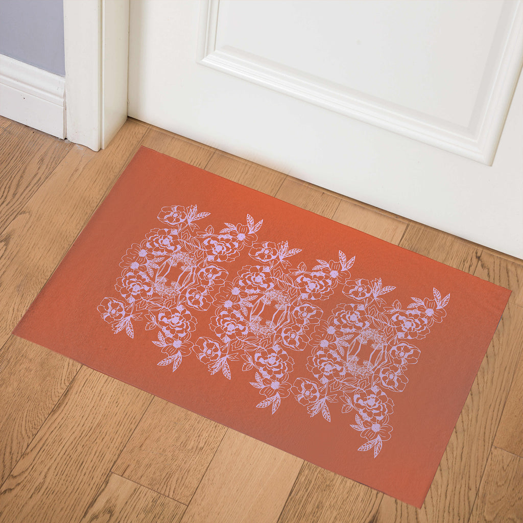 WOODBLOCK FLORAL ORANGE Indoor Floor Mat By Hope Bainbridge