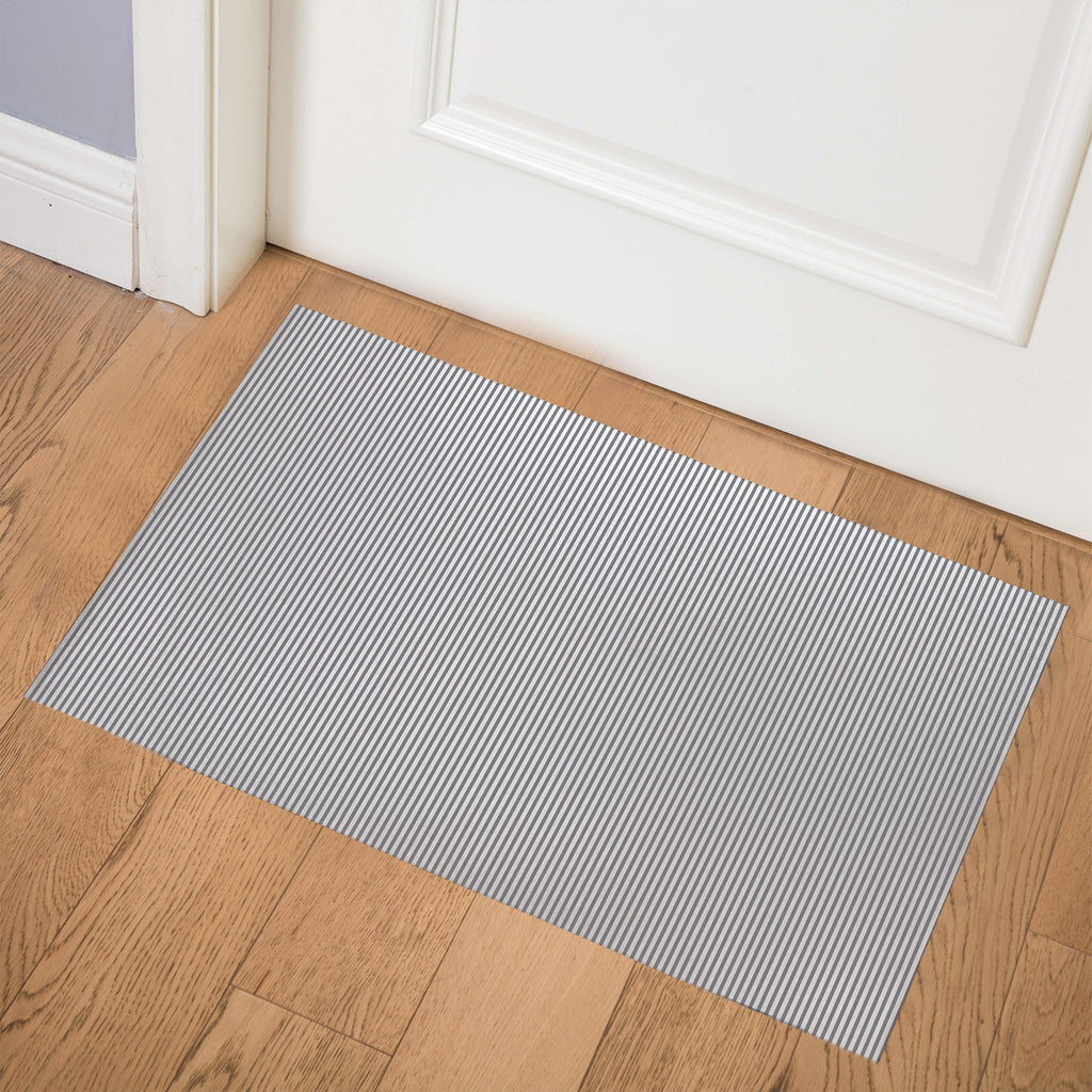 BELMONT STRIPE GREY Indoor Floor Mat By Marina Gutierrez