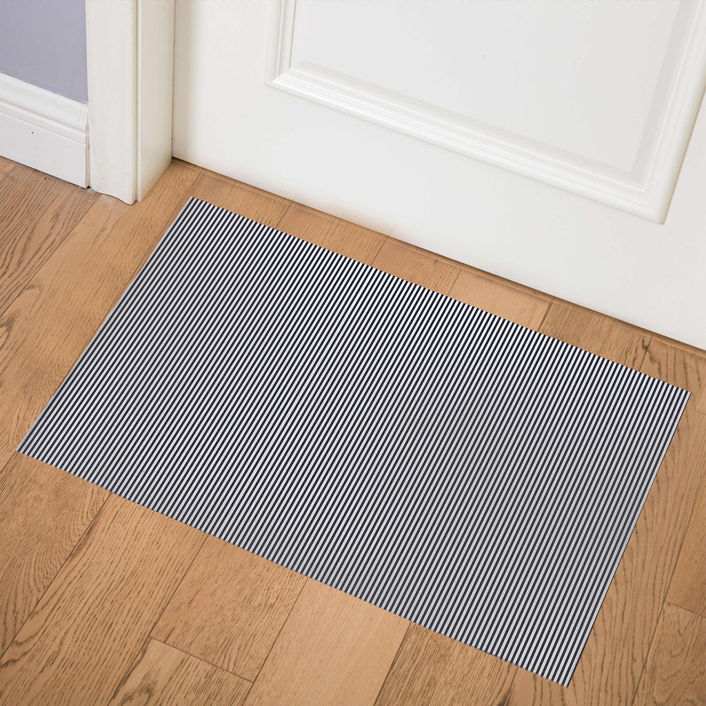 BELMONT STRIPE NAVY Indoor Floor Mat By Marina Gutierrez