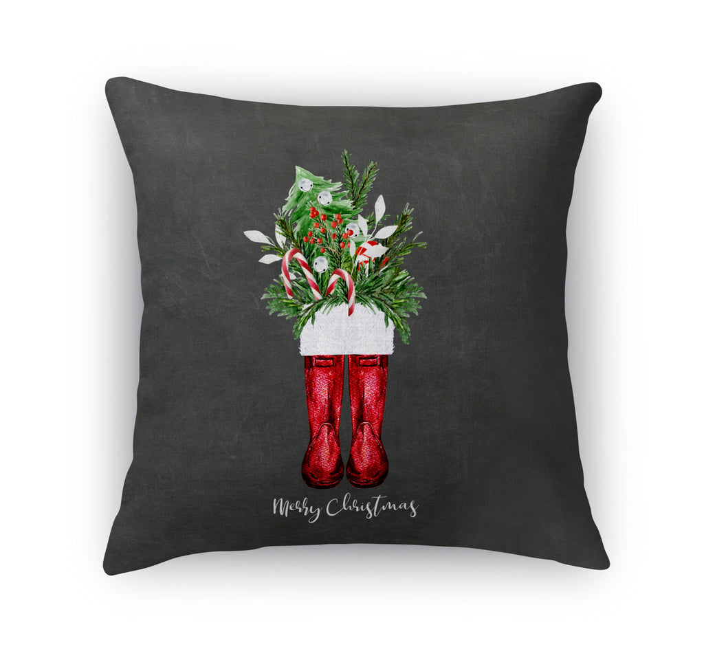 MERRY CHRISTMAS RED BOOTS Accent Pillow By Terri Ellis