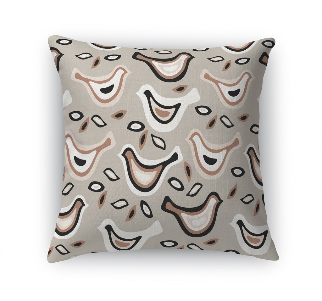 BIRDS ALL TOGETHER NOW TAUPE Accent Pillow By Terri Ellis