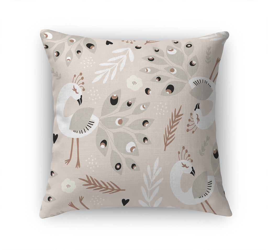 DANCING PEACOCKS IN BLUSH Accent Pillow By Terri Ellis