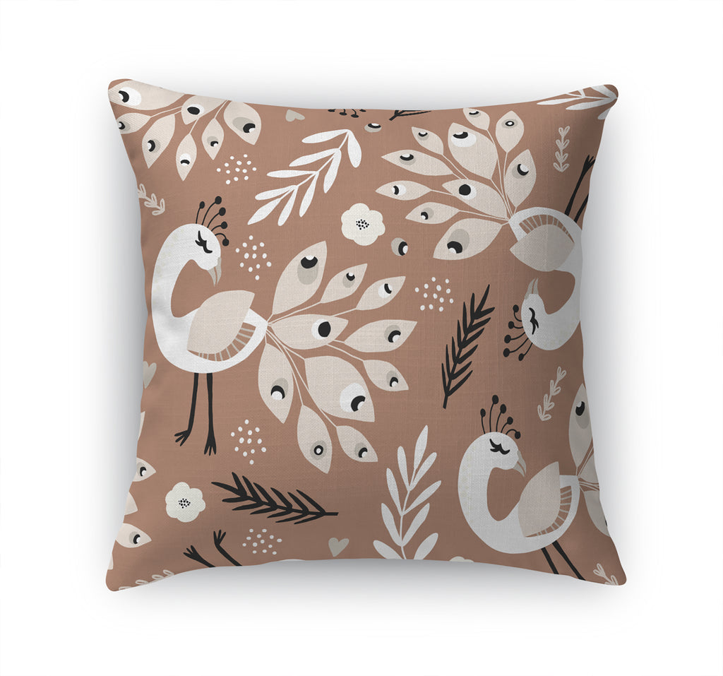 DANCING PEACOCKS IN RUST Accent Pillow By Terri Ellis