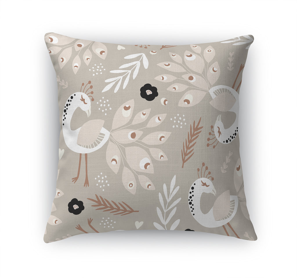 DANCING PEACOCKS IN TAUPE Accent Pillow By Terri Ellis