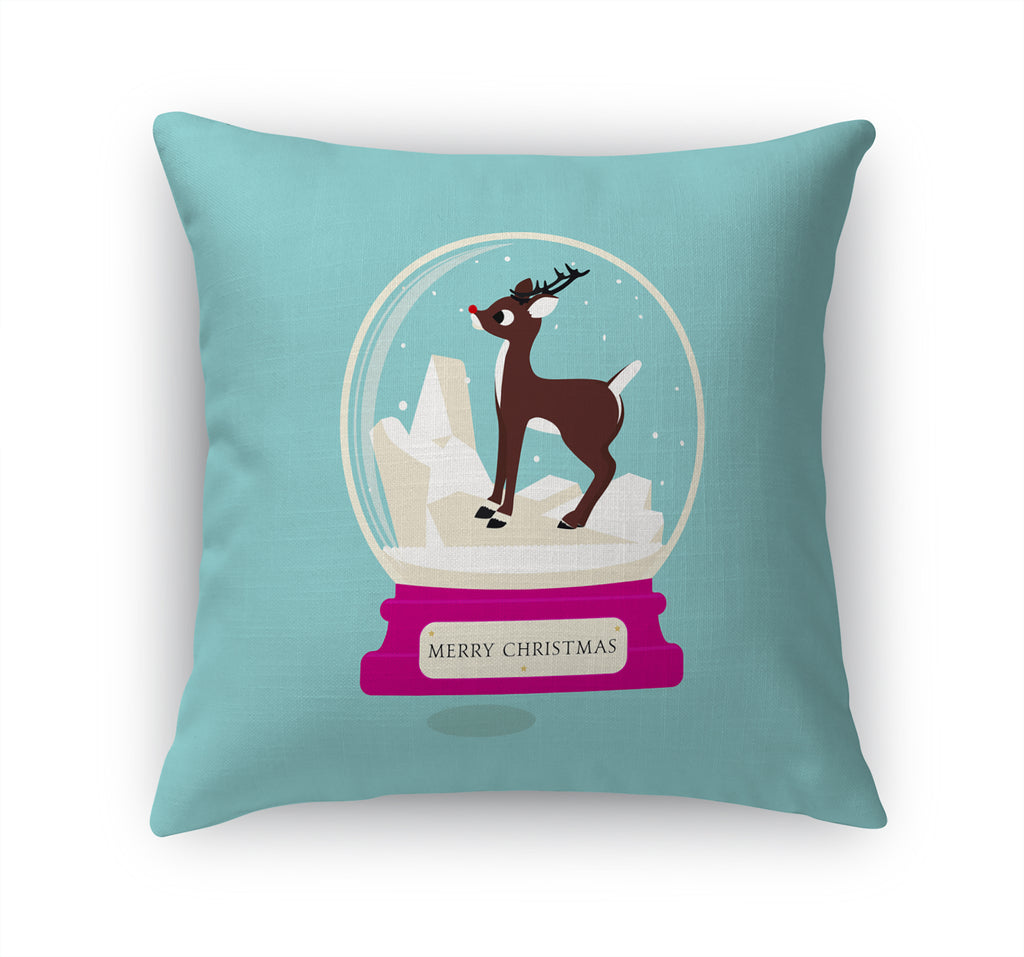 DEER SNOW GLOBE Accent Pillow By Terri Ellis