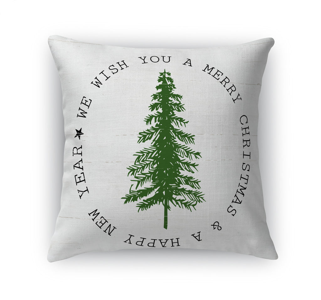 WE WISH YOU A MERRY CHRISTMAS Accent Pillow By Terri Ellis