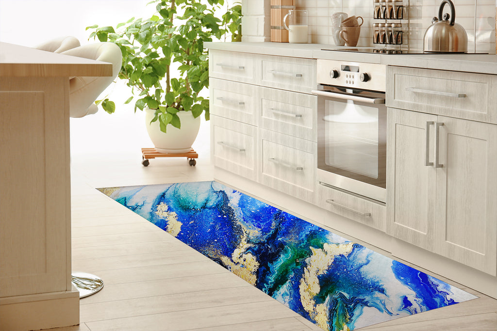 LAPIS AND EMERALD Kitchen Mat By Alyson McCrink