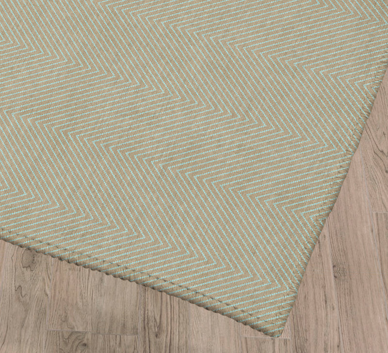 STITCHED ZIG ZAG TRIBAL CREME DE MENTHE Kitchen Mat By Becky Bailey