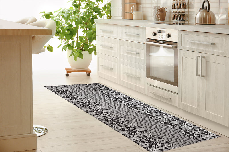TEELA BLACK & WHITE Kitchen Runner By Kavka Designs