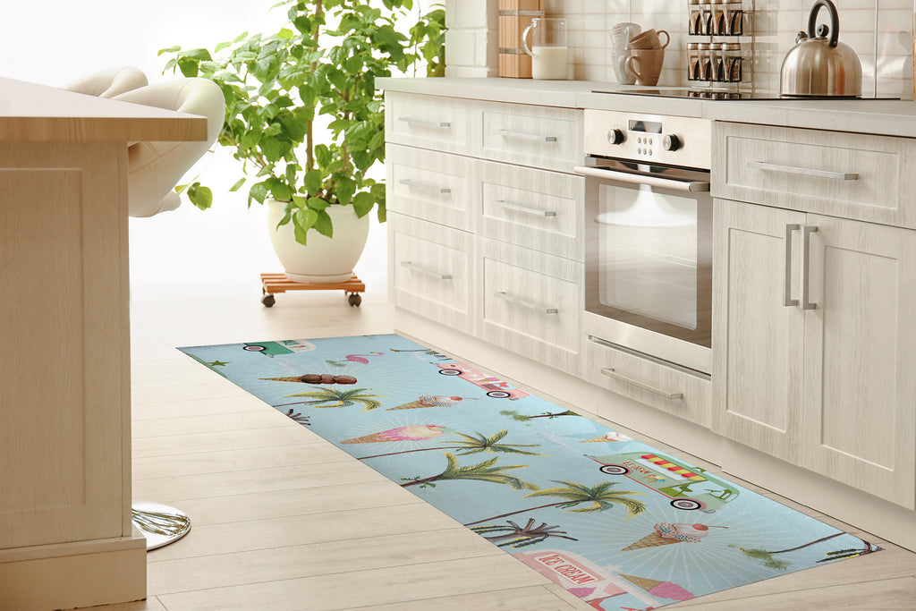 CALLE PALMA ICE CREAM TRUCK Kitchen Mat By Anne Cote