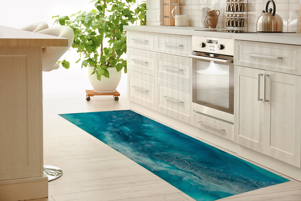 BLUE HAWAIIAN Kitchen Mat By Melissa Renee