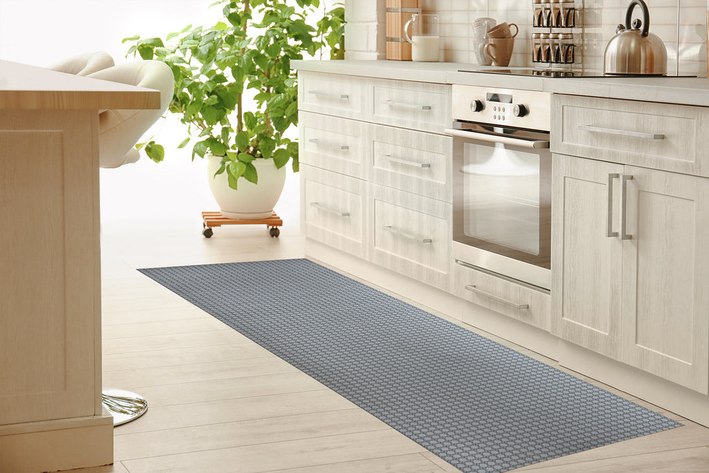 BLIMP GREY BLUE Kitchen Mat By Hope Bainbridge