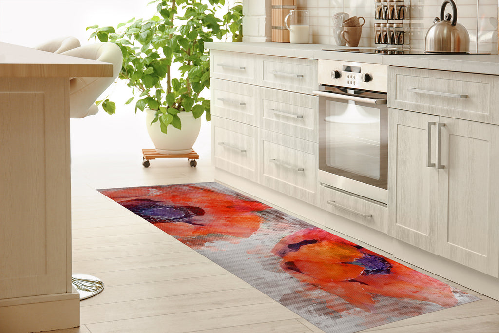 WATERCOLOR POPPIES Kitchen Mat By Jackii Greener