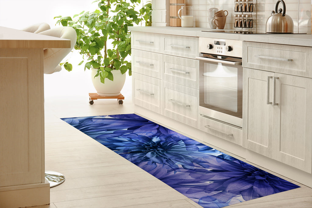 FLORAL BLOOMS VIOLET Kitchen Mat By Jackii Greener