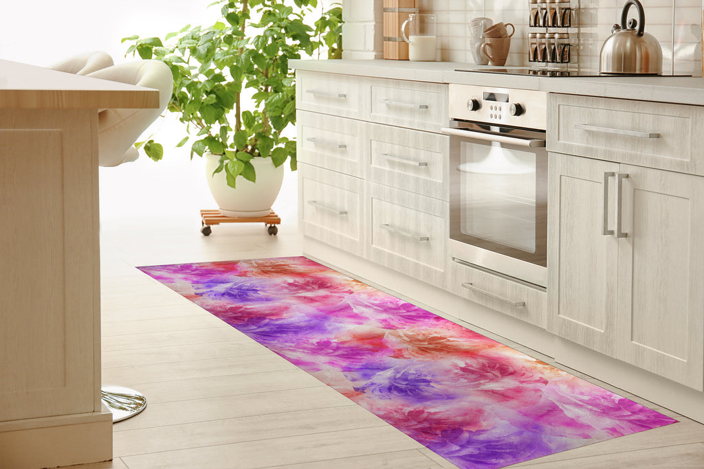 FLORAL BLOOMS PINK AND PURPLE Kitchen Mat By Jackii Greener