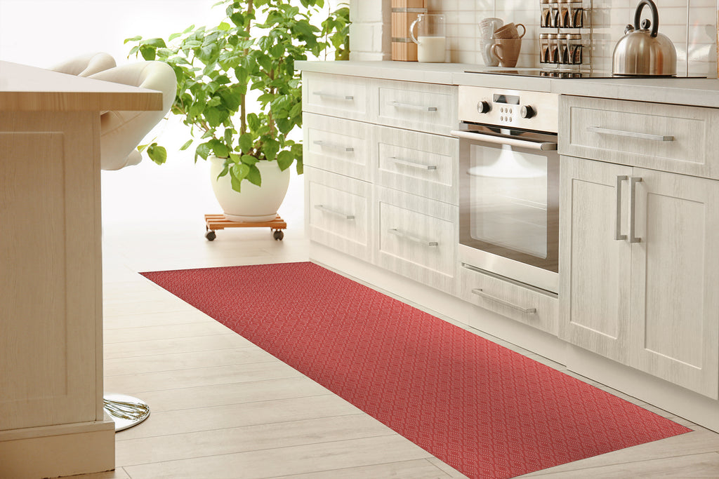 DOTTED GEO CORAL Kitchen Mat By Lemon Lovegood