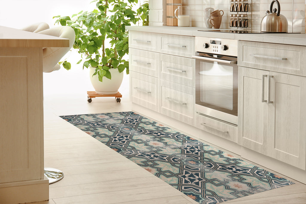BARCELONA GREEN Kitchen Mat By Marina Gutierrez