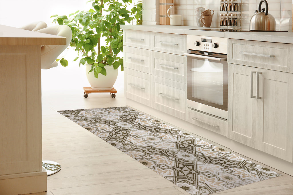 BARCELONA TAN Kitchen Mat By Marina Gutierrez