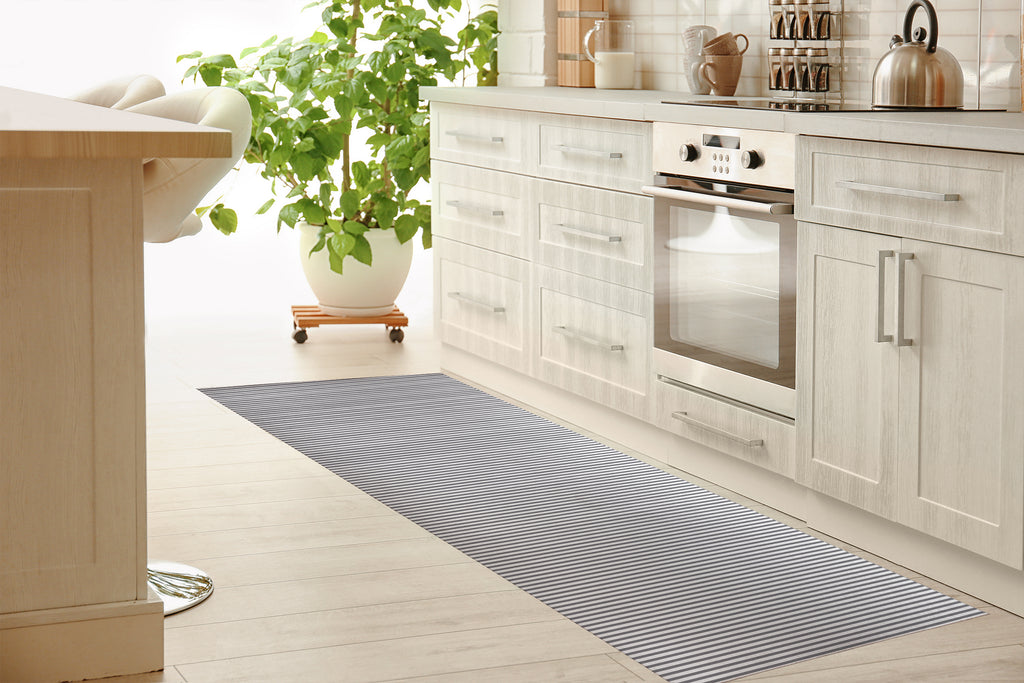BELMONT STRIPE GREY Kitchen Mat By Marina Gutierrez