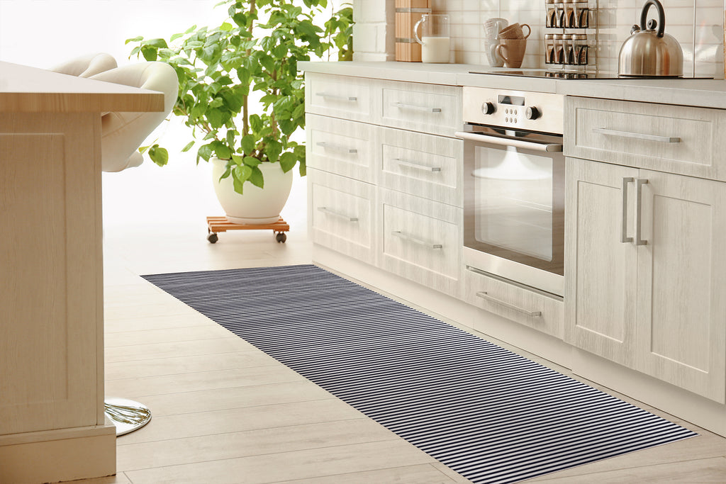 BELMONT STRIPE NAVY Kitchen Mat By Marina Gutierrez