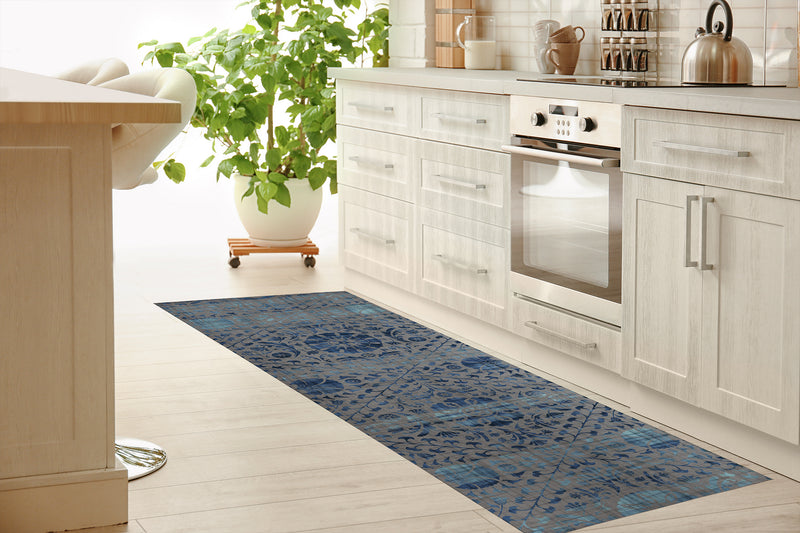SUZANI DISTRESSED GREY & BLUE Kitchen Mat By Marina Gutierrez