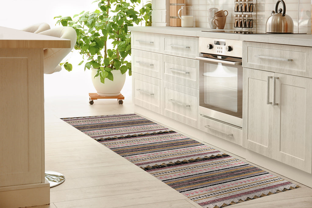 TRIANGLE STRIPE Kitchen Mat By Michelle Parascandolo