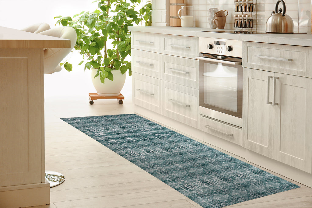 TURQUOISE DISTRESSED Kitchen Mat By Michelle Parascandolo