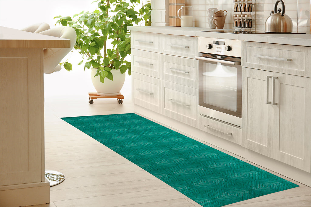 TURQUOISE WOOD Kitchen Mat By Michelle Parascandolo