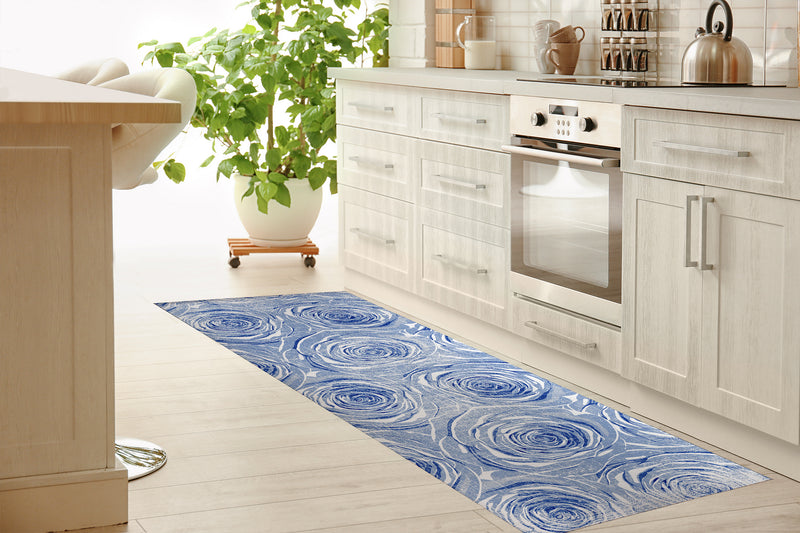 BED OF ROSES BLUE FLAT DESTRESSED Kitchen Mat By Terri Ellis