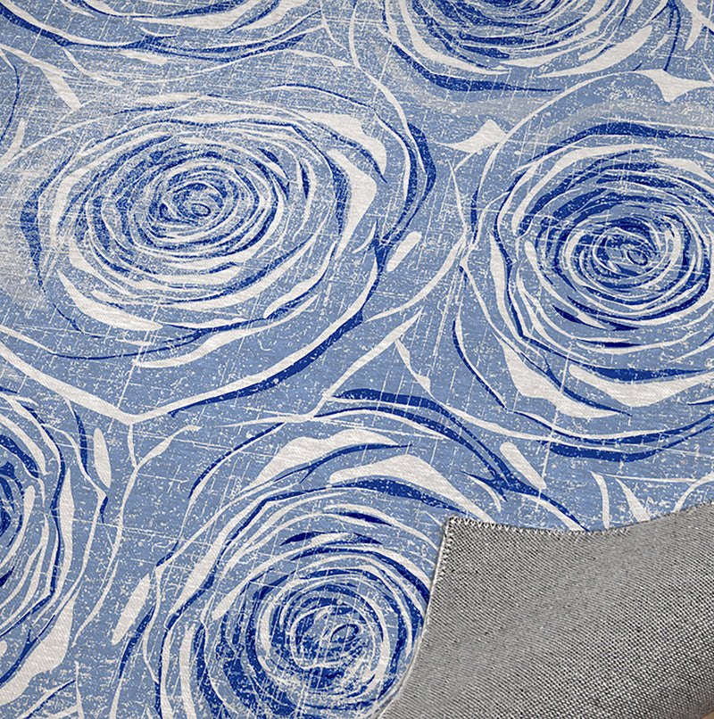 BED OF ROSES BLUE FLAT DISTRESSED Kitchen Mat By Terri Ellis