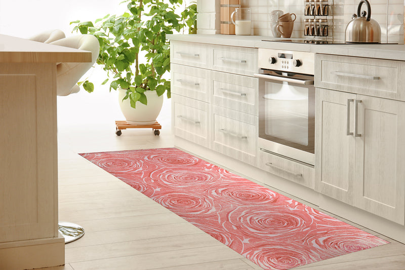 BED OF ROSES PINK FLAT DESTRESSED Kitchen Mat By Terri Ellis