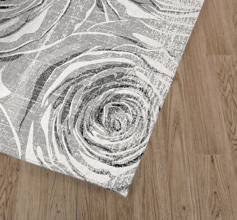 BED OF ROSES GREY FLAT DISTRESSED Kitchen Mat By Terri Ellis