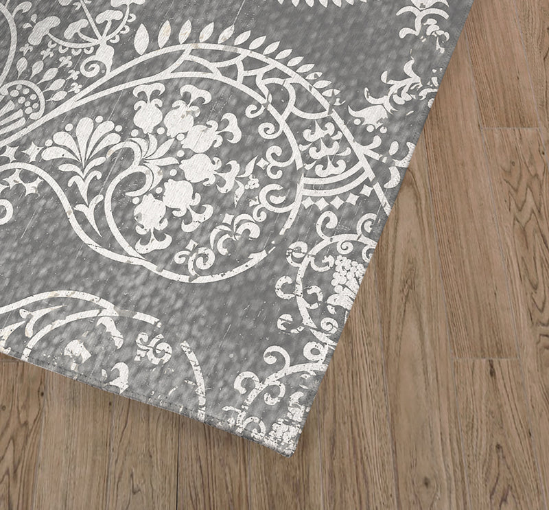CLEO GREY Kitchen Mat By Terri Ellis